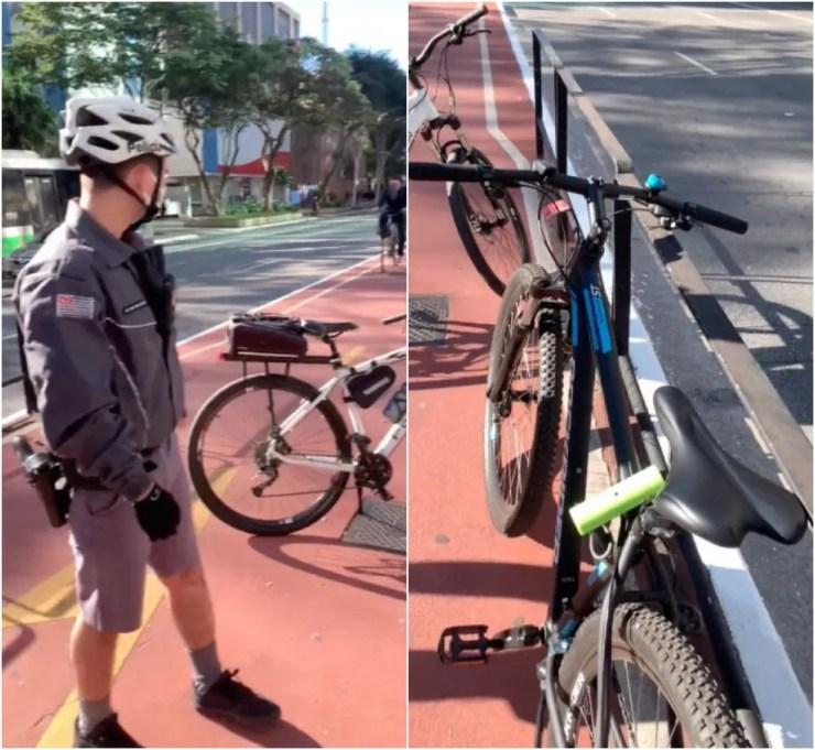Policiais militares fazem abordagem de jovem negro com bicicleta na Avenida Paulista, Centro de SP. — Foto: Reprodução