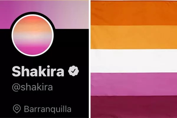 Shakira's social network's visual identity was compared to the flag of lesbian pride (Photo: twitter reproduction and dissemination) (Photo: twitter reproduction and dissemination)