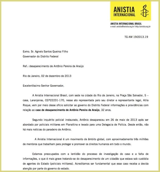 Documento enviado pela Anistia Internacional ao governador do Distrito Federal, sobre investigação de Antônio de Araújo, desaparecido após abordagem policial  (Foto: Reprodução)