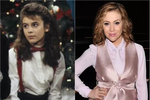 Alyssa Milano, famosa por 'Charmed' (1998), começou sua carreira com apenas 12 anos, na série 'Who's the Boss' (1984)  (Foto: Getty Images e Divulgação)
