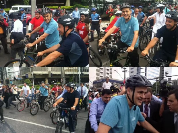 Gustavo Fruet chega à Prefeitura de bicicleta (Foto: Gabriel Hamilko e Cristina Graeml)