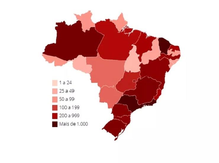 Mapa de casos de coronavírus no Brasil em 8 de abril — Foto: Arte-G1