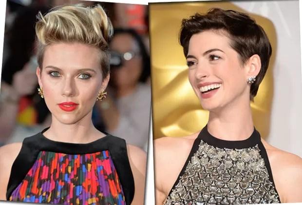 As atrizes Scarlett Johansson e Anne Hathaway já apostaram em versões modernas dos cortes mais curtos  (Foto: Getty Images)