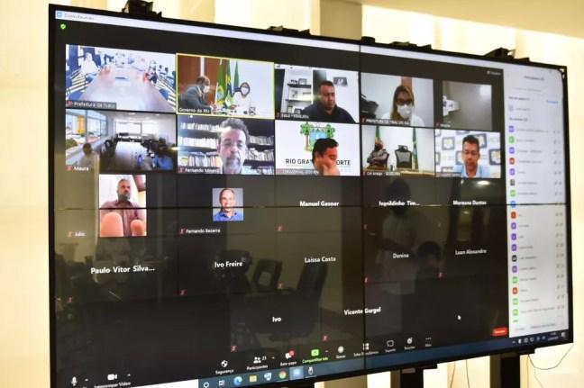 Novas medidas de combate à Covid-19 foram anunciadas nessa quinta-feira (22) durante reunião virtual com prefeitos e outras entidades no RN. — Foto: Divulgação