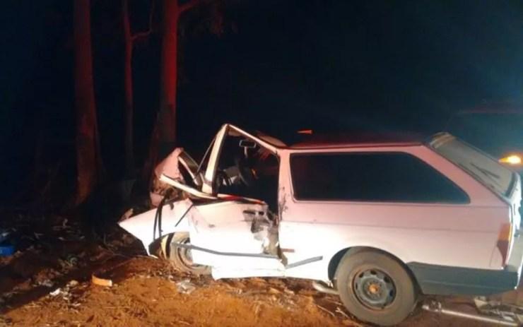 Motorista bateu em árvore  (Foto: Arquivo Pessoal)