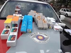 Produto roubados foram recuperados (Foto: Polícia Militar/Divulgação)