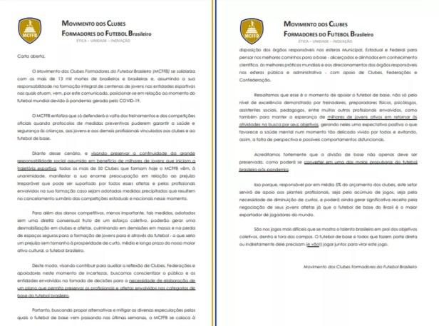 Carta aberta de dirigentes das categorias de base do futebol brasileiro — Foto: Divulgação