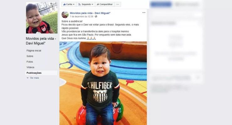 Família de Davi Miguel faz post em rede social sobre a volta ao Brasil — Foto: Reprodução/Facebook