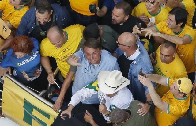 Bolsonaro participa de ato na Paulista, em São Paulo  — Foto: Miguel Schincariol/ AFP