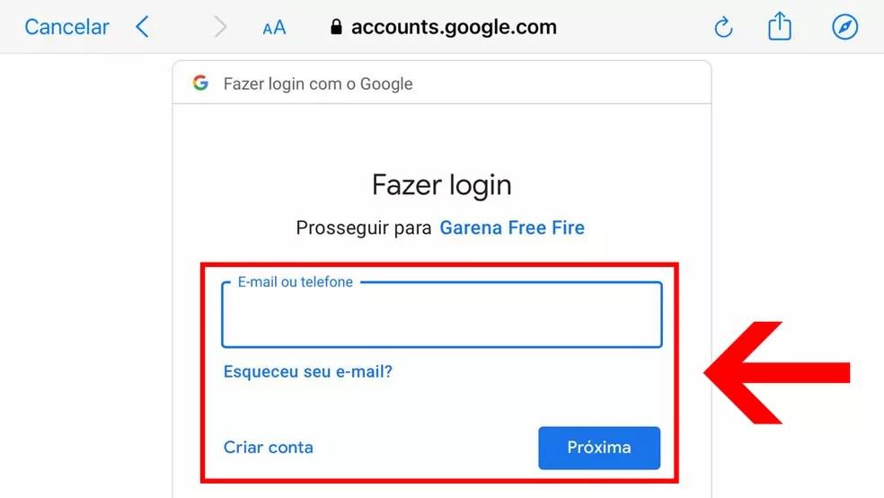 """Informe o e-mail da conta Google e clique em """"Próxima"""" — Foto: Reprodução/Leandro Eduardo"""