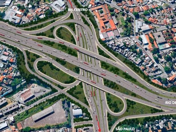 Projeto mostra como deve ficar entrocamento do Anel Rodoviário com a Avenida Amazonas (Foto: Reprodução / DER)