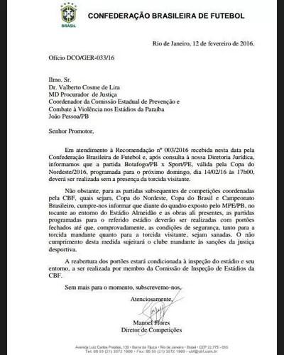 documento cbf almeidão (Foto: Reprodução / CBF)