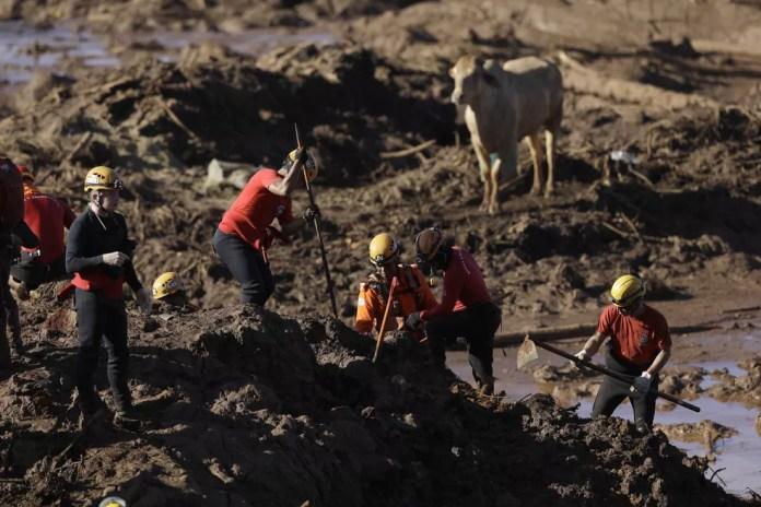 Bombeiros seguem com trabalho de buscas por vítimas e sobreviventes em Brumadinho — Foto: AP Photo/Leo Correa