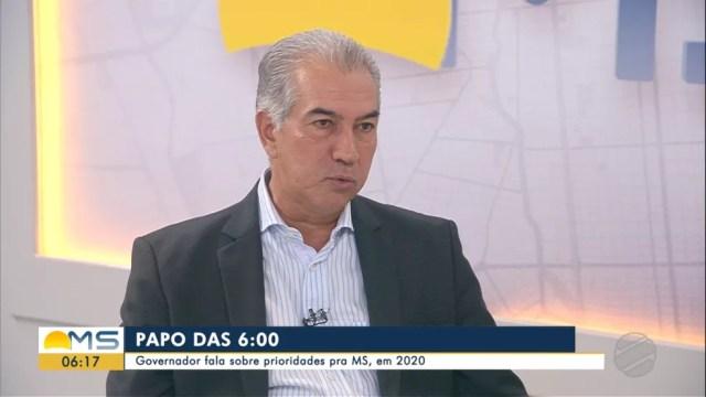 Governador Reinaldo Azambuja no Bom Dia MS — Foto: Reprodução/TV Morena