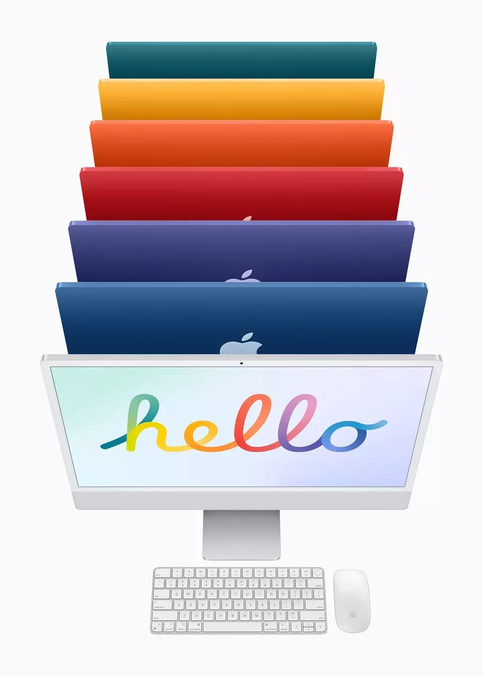 Novas cores do iMac. — Foto: Divulgação/Apple