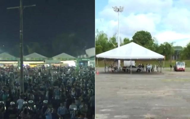 Espaço do show de São João em Camaçari antes da pandemia e à direita, um ponto de vacinação contra Covid-19 que foi montado no local — Foto: Reprodução/TV Bahia