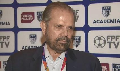 Reinaldo Carneiro Bastos garantiu que Paulistão será concluído  — Foto: Reprodução/EPTV