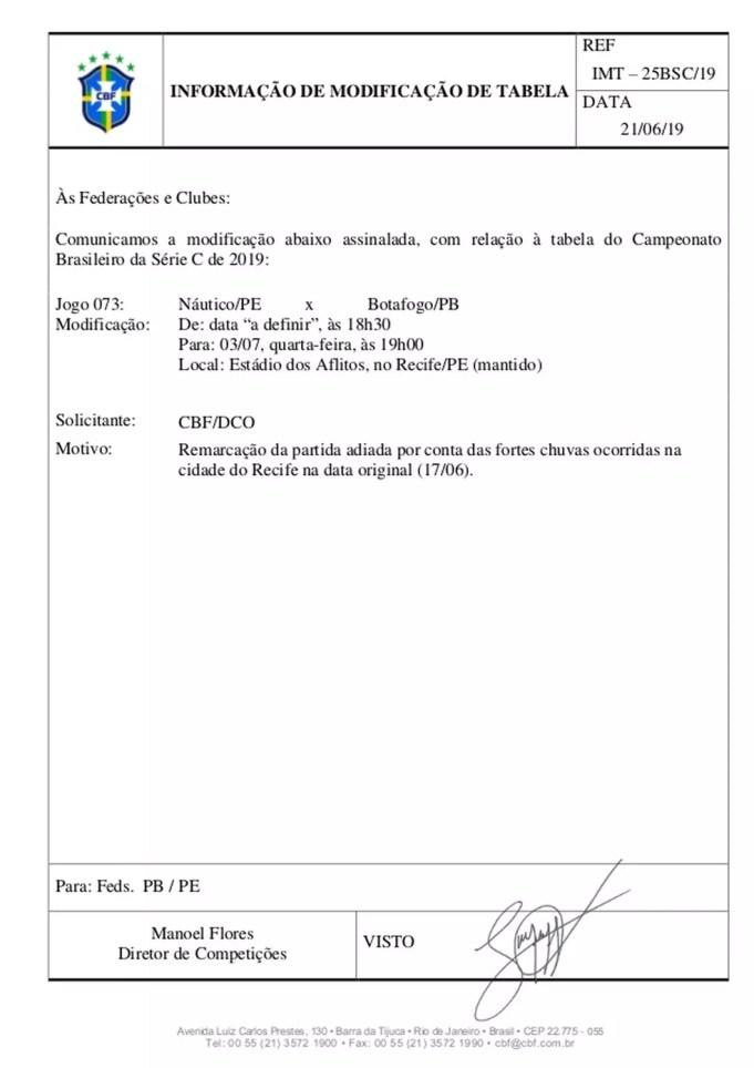 nutico x botafogo 1 638 - CBF anuncia nova data para o jogo entre Boatafogo-PB eNáutico