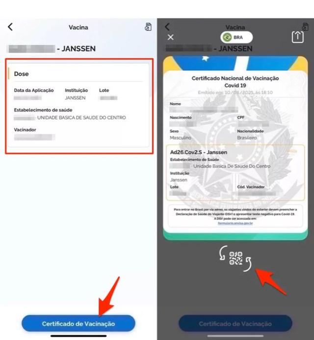 Ação para gerar o registro de vacinação Covid no app Conecte SUS — Foto: Reprodução/Marvin Costa