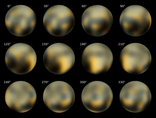 Combinação de imagens feita pelo Telescópio Espacial Hubble em 2002 e 2003 mostra Plutão em diferentes ângulos; nave New Horizons começará a fazer imagens do planeta anão neste domingo (Foto: AP Photo/NASA, ESA, M. Buie)