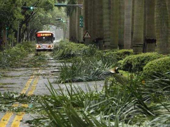 Ônibus tem dificuldades em circular em Taipé. (Foto: Wally Santana / AP Photo)