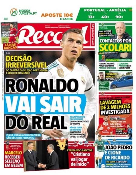 Jornal afirma que Cristiano Ronaldo deixará o Real Madrid (Foto: Reprodução)