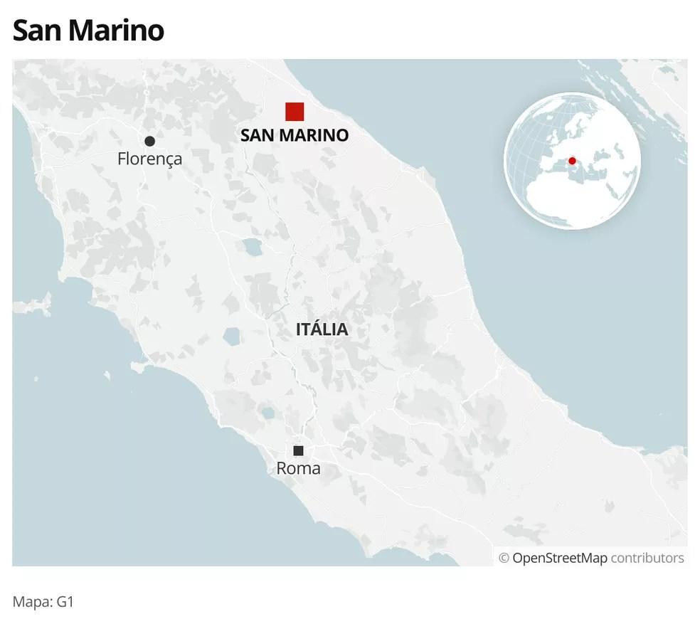 Mapa com a localização de San Marino, um país de 33 mil habitantes, do tamanho da ilha de Manhattan, encravado no nordeste da Itália — Foto: g1 Mundo