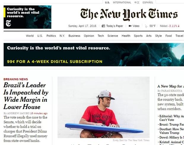 Ampla margem de votos foi destacada pelo New York Times (Foto: Reprodução/New York Times)