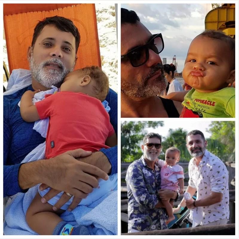 Casal já pensa em adotar mais uma criança (Foto: Fotos e Arte: Arquivo Pessoal, Luiz Fernandes e G1 Pará)