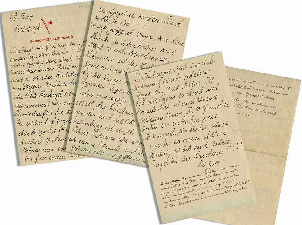 Carta de Albert Einstein e sua mulher, Elsa, escrita durante o nazismo (Foto: Reprodução / Nate D.Sanders )
