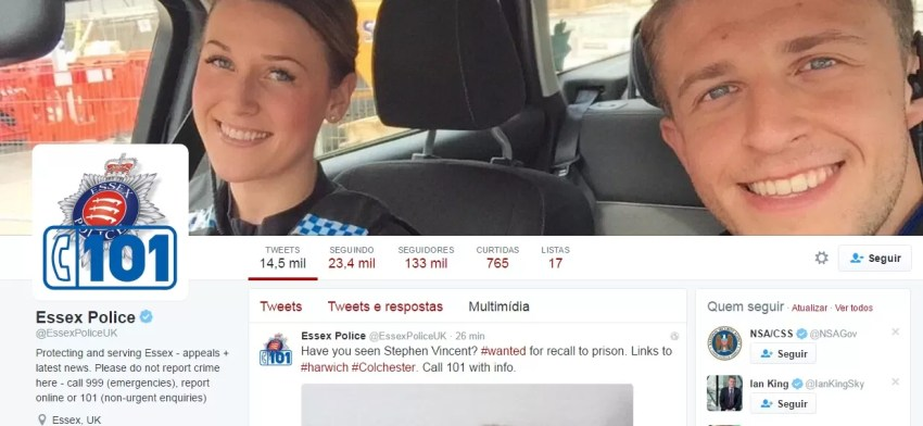 A dupla de 'bonitões' ilustra a página da polícia no Twitter