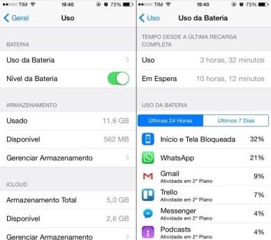 Identificando aplicativos que mais consomem bateria (Foto: Reprodução/Helito Bijora)
