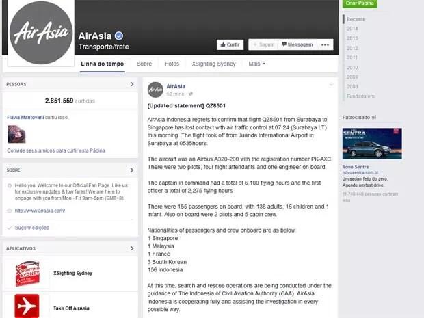 Companhia aérea AirAsia informa sobre desaparecimento do Airbus A320-200 do voo QZ-8501 através do Facebook.  (Foto: Reprodução / AirAsia / Facebook)