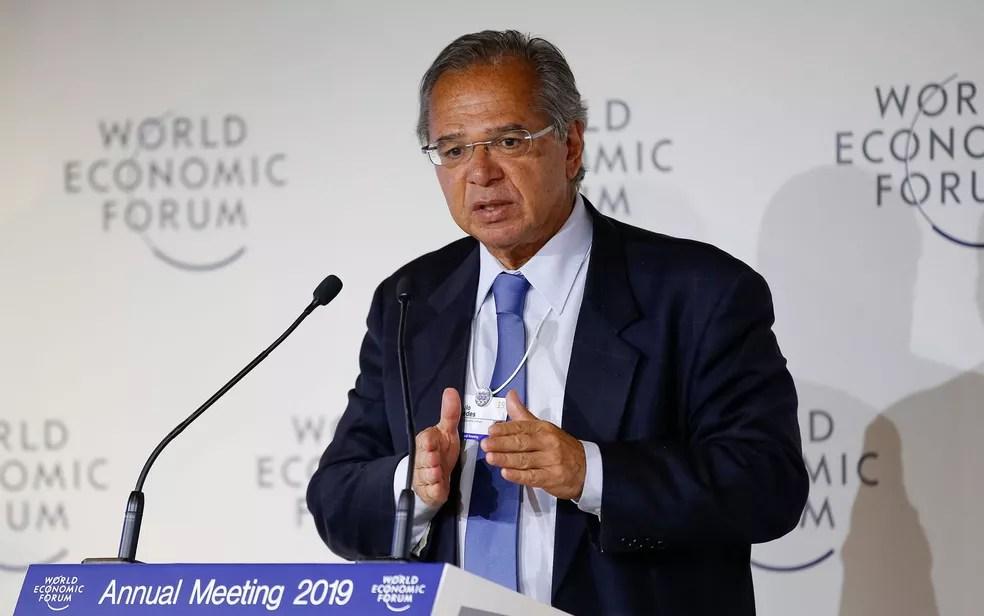O ministro da Economia, Paulo Guedes, durante almoço nesta quarta (23) no Fórum de Davos — Foto: Alan Santos/PR