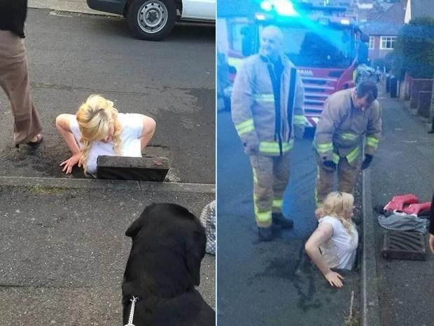 Ella Birchenough ficou presa em bueiro ao tentar recuperar iPhone que havia caído no local (Foto: Tim Richards/PA/AP)