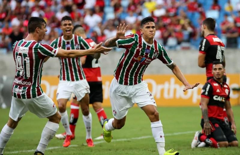 Pedro marcou um dos gols do Fluminense na goleada de 4 a 0 sobre o Flamengo em 2018 — Foto: Lucas Merçon