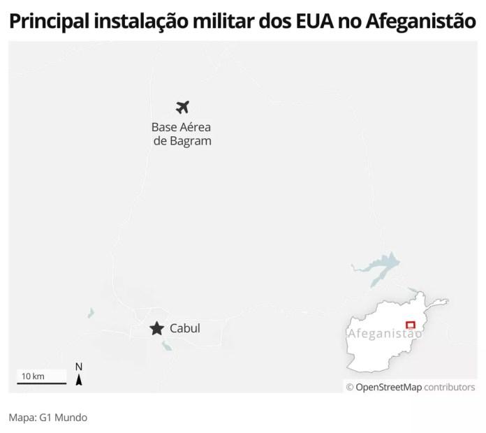 Mapa identifica a localização da base aérea de Bagram, no Afeganistão — Foto: G1 Mundo