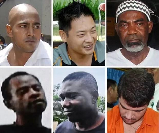 Montagem com fotos de seis dos oito executados à morte por tráfico na Indonésia na terça (28): acima, a partir da esquerda, os australianos Myuran Sukumaran e Andrew Chan o nigeriano Martin Anderson. Abaixo, os nigerianos Jamiu Owolabi Abashin e Sylvester (Foto: AFP Photo)