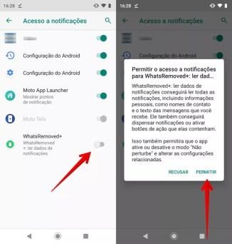 Autorize o acesso às notificações do app para recuperar mensagens apagadas do WhatsApp — Foto: Reprodução/Helito Beggiora