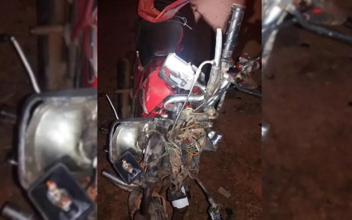 Moto se envolve em acidente na BR-414 em Anápolis, Goiás (Foto: Divulgação/ PRF)