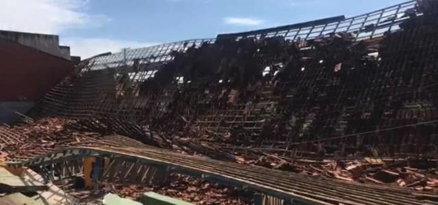Teto de quadra desabou em escola de RO — Foto: Buritis Agora/Reprodução