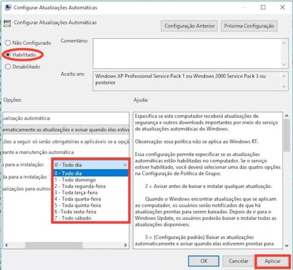 Atualização do Windows programada (Foto: Reprodução)