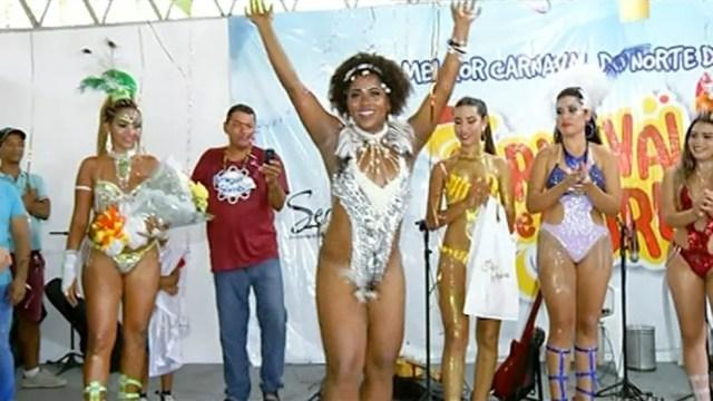 Claudenira é eleita Rainha do Carnaval de Gurupi (Foto: Reprodução/TV Anhanguera)