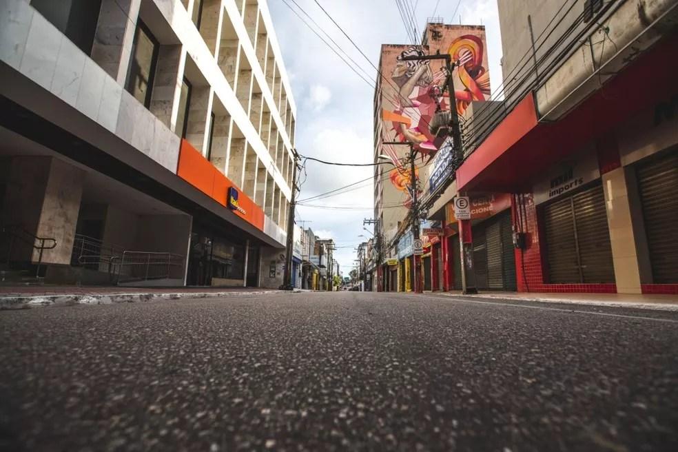 Fortaleza teve ruas vazias durante o auge do lockdown, em meados de março de 2020 — Foto: Thiago Gadelha/Sistema Verdes Mares