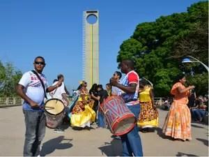 Dança foi apresentada pelo grupo Juventude Marabaixeira, durante Equinócio da Primavera (Foto: Fabiana Figueiredo/G1)