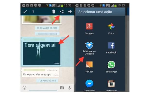Acessando as opções de compartilhamento de uma fotos no WhatsApp para Android