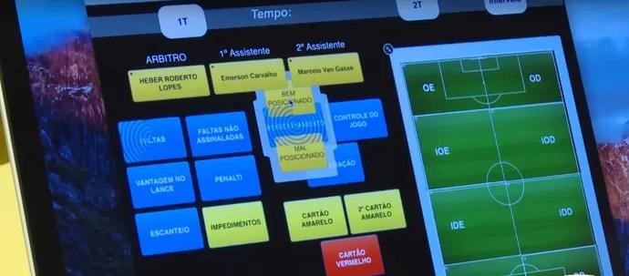 Software de análise de desempenho dos árbitros da CBF (Foto: Reprodução/CBF)