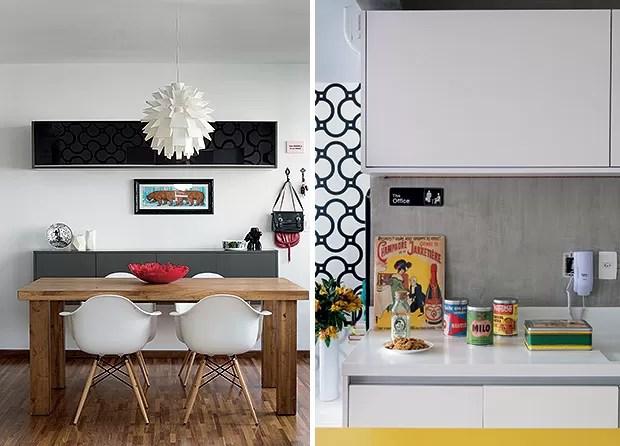 Sala de jantar | Da Sierra Móveis, a mesa de jantar recebe as poltronas DAW, de Charles e Ray Eames. Centro de mesa, da Benedixt. No aparador, prato da Coisas da Doris. Pendente, trazido de Nova York (Foto: Cacá Bratke/Casa e Jardim)