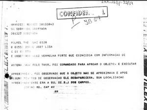 Documentos confidenciais divulgados pela FAB (Foto: Arquivo Nacional)