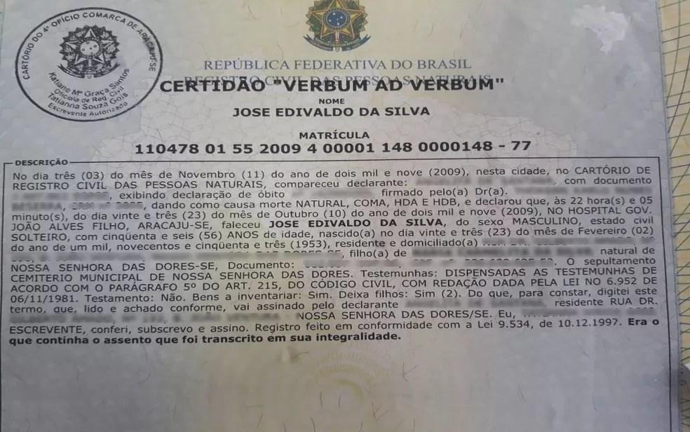 O óbito do agricultor foi registrado em outubro de 2009 (Foto: Michele Costa/TV Sergipe)